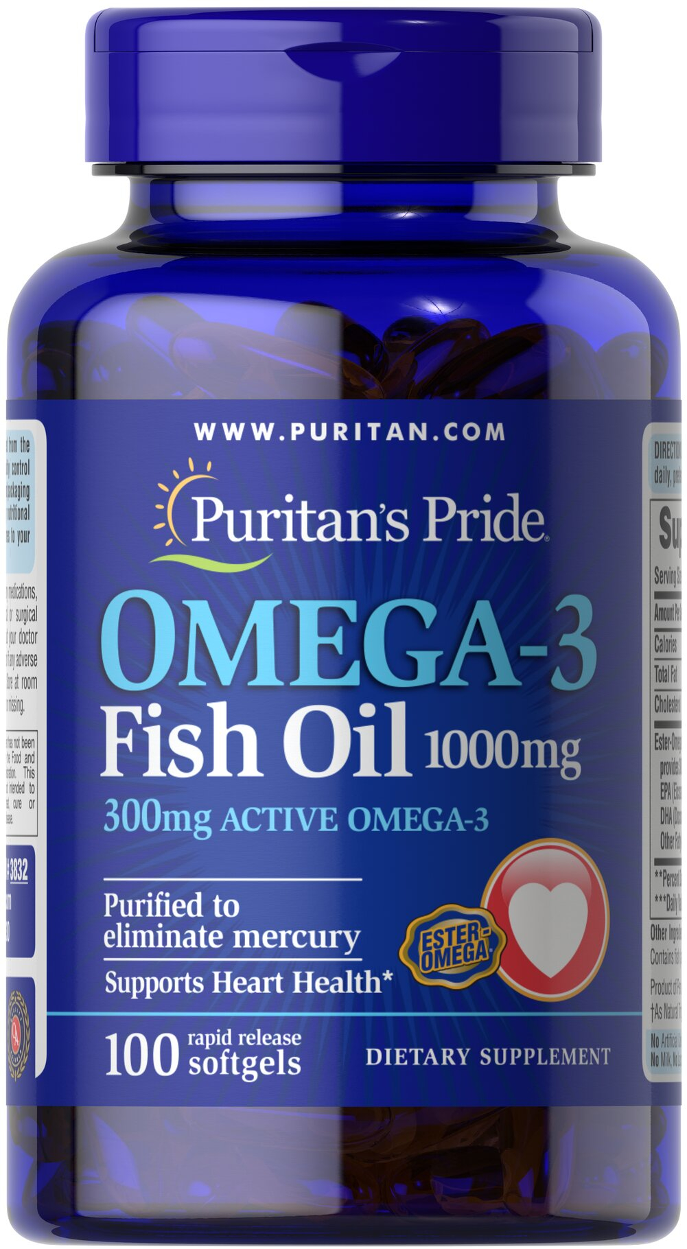 "Omega-3 Fish Oil 1000mg <p><span></span>Provides 300mg of active Omega-3.</p><p><span></span>Supports heart health.**</p><p><span></span>Purified to eliminate mercury.</p><p>This Ester-Omega® Fish Oil provides 300mg of total omega-3 fatty acids, comprising of EPA, DHA and other fatty acids. EPA and DHA fatty acids support heart health, provide an energy source for your body and are ""good"" fats that can help balanc"