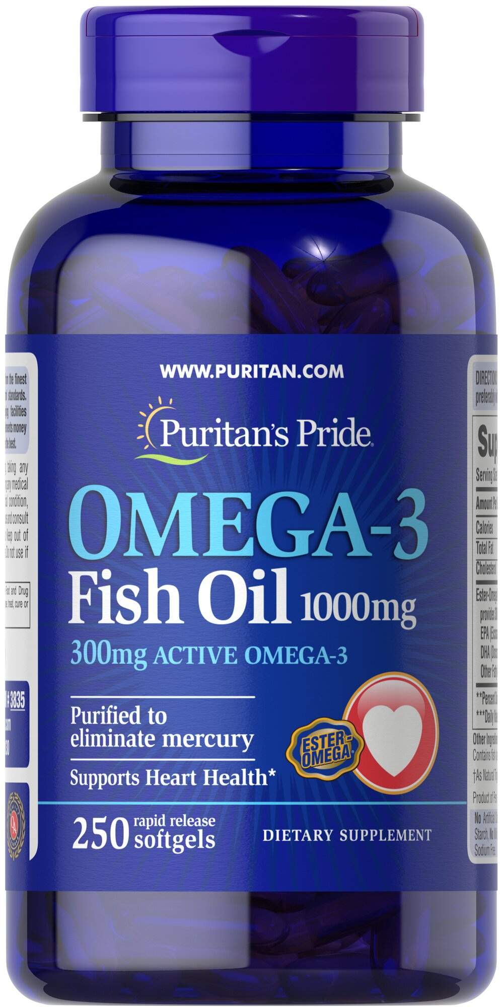 "Omega-3 Fish Oil 1000 mg <p><span></span>Provides 300mg of active Omega-3.</p><p><span></span>Supports heart health.**</p><p><span></span>Purified to eliminate mercury.</p><p>This Ester-Omega® Fish Oil provides 300mg of total omega-3 fatty acids, comprising of EPA, DHA and other fatty acids. EPA and DHA fatty acids support heart health, provide an energy source for your body and are ""good"" fats that can help balan"