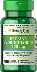 Betaine Hydrochloride 400 mg <p>Betaine Hydrochloride contributes to stomach acid in the body.**</p><p>Betaine Hydrochloride is a digestive aid and can be used to promote digestive health.**</p> 100 Tablets 400 mg