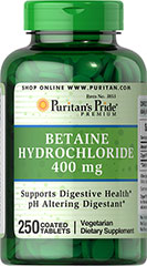 Betaine Hydrochloride 400 mg <p>Betaine Hydrochloride contributes to stomach acid in the body.**</p><p>Betaine Hydrochloride is a digestive aid and can be used to promote digestive health.**</p><p>Betaine Hydrochloride supports lean mass and body composition.**</p><p></p> 250 Tablets 400 mg $21.99
