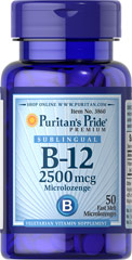 Vitamin B-12 2500 mcg Sublingual <p>Puritan's Pride's unique B-12  lozenges and dots deliver essential B vitamins for energy metabolism in the body.** Vitamin B-12 is also essential for the normal formation of blood cells, contributes to the health of the nervous system, and helps maintain circulatory health.** Adults can take one lozenge or dot daily with a meal. Place lozenge or dot under tongue for 30 seconds before swallowing.</p> 50 Lozenges 2500 mcg $10.29