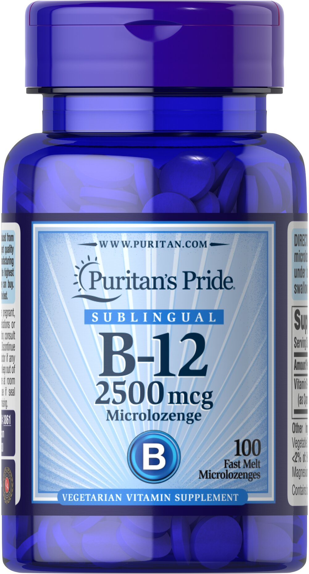 Vitamin B-12 2500 mcg Sublingual <p>Puritan's Pride's unique B-12  lozenges and dots deliver essential B vitamins for energy metabolism in the body.** Vitamin B-12 is also essential for the normal formation of blood cells, contributes to the health of the nervous system, and helps maintain circulatory health.** Adults can take one lozenge or dot daily with a meal. Place lozenge or dot under tongue for 30 seconds before swallowing.</p> 100 Microlozenges 2500 mcg $16.99