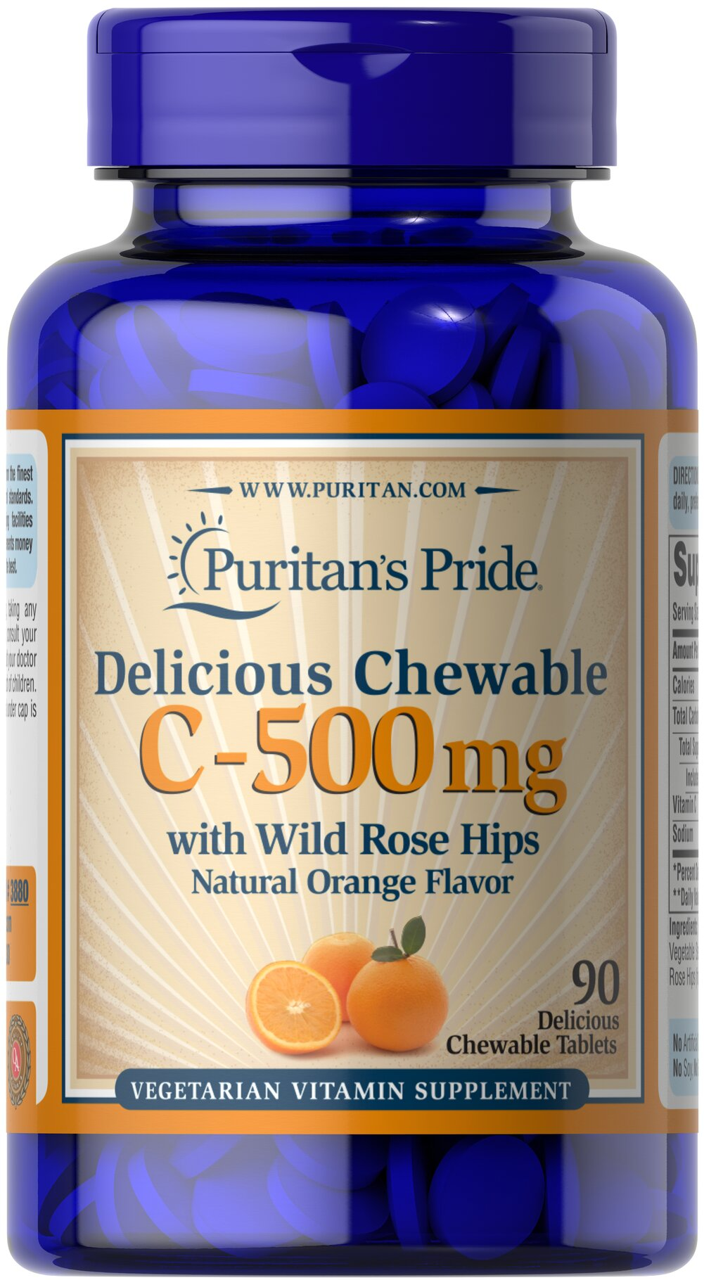 Chewable Vitamin C-500 mg with Rose Hips <p><strong>Chewable Orange Flavored Tablets</strong></p><p>Vitamin C is essential to many functions in the body and is one of the leading vitamins for immune support and helps fight the cell-damaging free radicals that can lead to oxidative stress and premature aging of cells.**</p><p>Offers superior antioxidant support.**</p><p>Supports healthy immune function and promotes well-being.**</p> 90 C