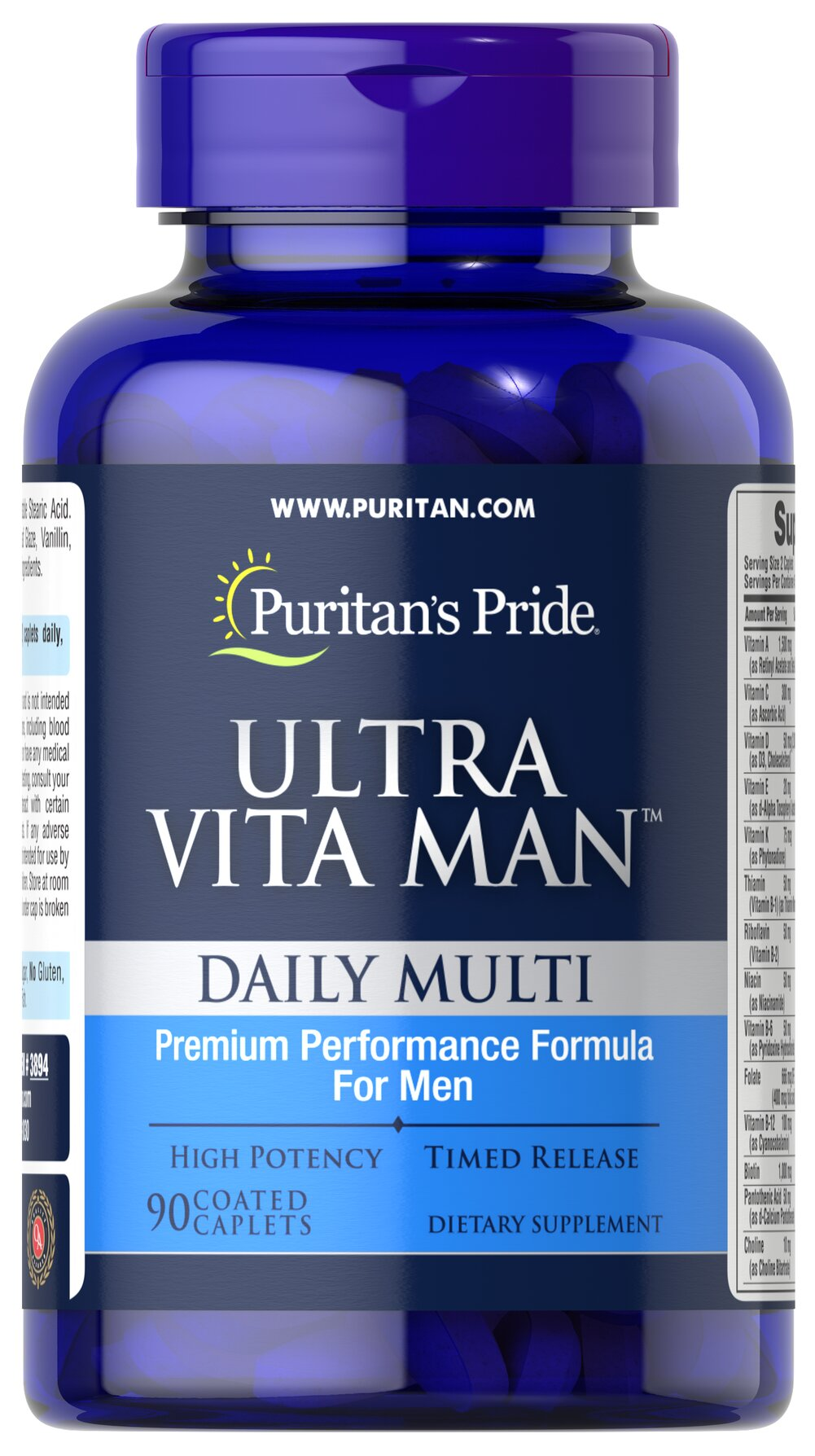 Ultra Vita Man™ Time Release <p>This time release multivitamins  delivers vitamins and minerals shown to be beneficial to men's overall wellness. From antioxidant and immune support to cardiovascular health, Ultra Vita Man is ideal for today's on-the-go men!**</p><p>Diabetics/Hypoglycemics: Use only under a doctor's supervision because this product contains chromium which may enhance insulin sensitivity and may affect your blood glucose levels.</p> 90 Caplets