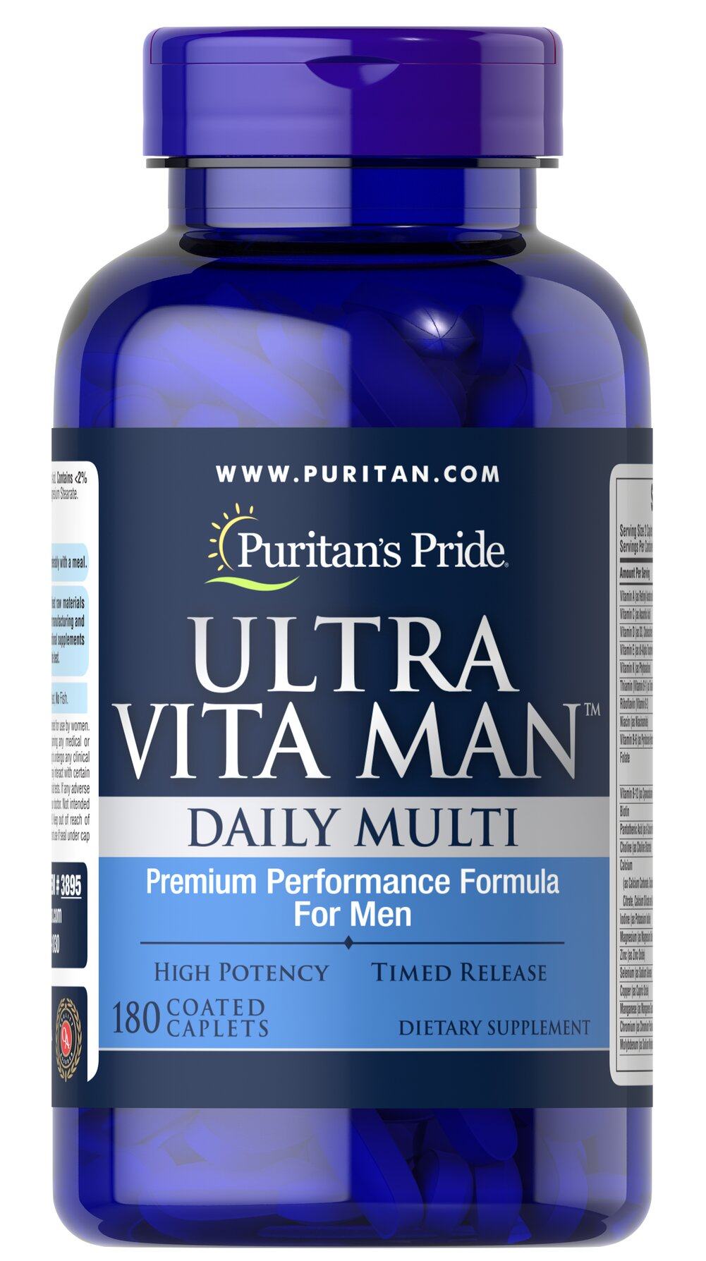 Ultra Vita Man™ Time Release <p>This time release multivitamins  delivers vitamins and minerals shown to be beneficial to men's overall wellness. From antioxidant and immune support to cardiovascular health, Ultra Vita Man is ideal for today's on-the-go men!**</p> <p>Diabetics/Hypoglycemics: Use only under a doctor's supervision because this product contains chromium which may enhance insulin sensitivity and may affect your blood glucose levels.</p> 180 Caplet