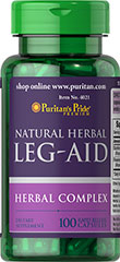 Herbal Leg-Aid <p>Leg-Aid capsules contain a fabulous European blend of herbs.  Get the vitalizing benefits of (75 mg) butcher's broom  plus (2 mg) rosemary oil.</p> 100 Capsules  $10.29