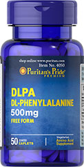 DLPA (DL-Phenylalanine) 500 mg <p>Essential Amino Acid**</p><p>DL-Phenylalanine plays a key role in the biosynthesis of tyrosine and helps form some of the neurotransmitters that work in the  brain.** DL-Phenylalanine is an essential  amino acid that cannot be made  by the body and must be obtained  from food.** Amino acids are considered the building blocks of protein and are necessary for life.**</p> 50 Caplets 500 mg $6.99