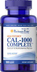 Cal-1000 Complete™ <p>CAL-1000 COMPLETE™ provides 100% of the Daily Value for calcium and 12 essential vitamins.  Only two tablets daily gives you this outstanding nutritional support.  If you want to be sure you are getting enough calcium for strong bones, and iron for your blood, plus all the vitamins necessary to help maintain optimum health - CAL-1000 COMPLETE™ is the perfect place to start.**</p> 100 Caplets  $9.99