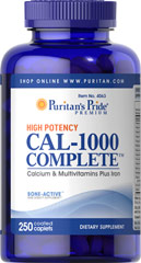 Cal-1000 Complete™ <p>CAL-1000 COMPLETE™ provides 100% of the Daily Value for calcium and 12 essential vitamins.  Only two tablets daily gives you this outstanding nutritional support.  If you want to be sure you are getting enough calcium for strong bones, and iron for your blood, plus all the vitamins necessary to help maintain optimum health - CAL-1000 COMPLETE™ is the perfect place to start.**</p> 250 Caplets  $17.99