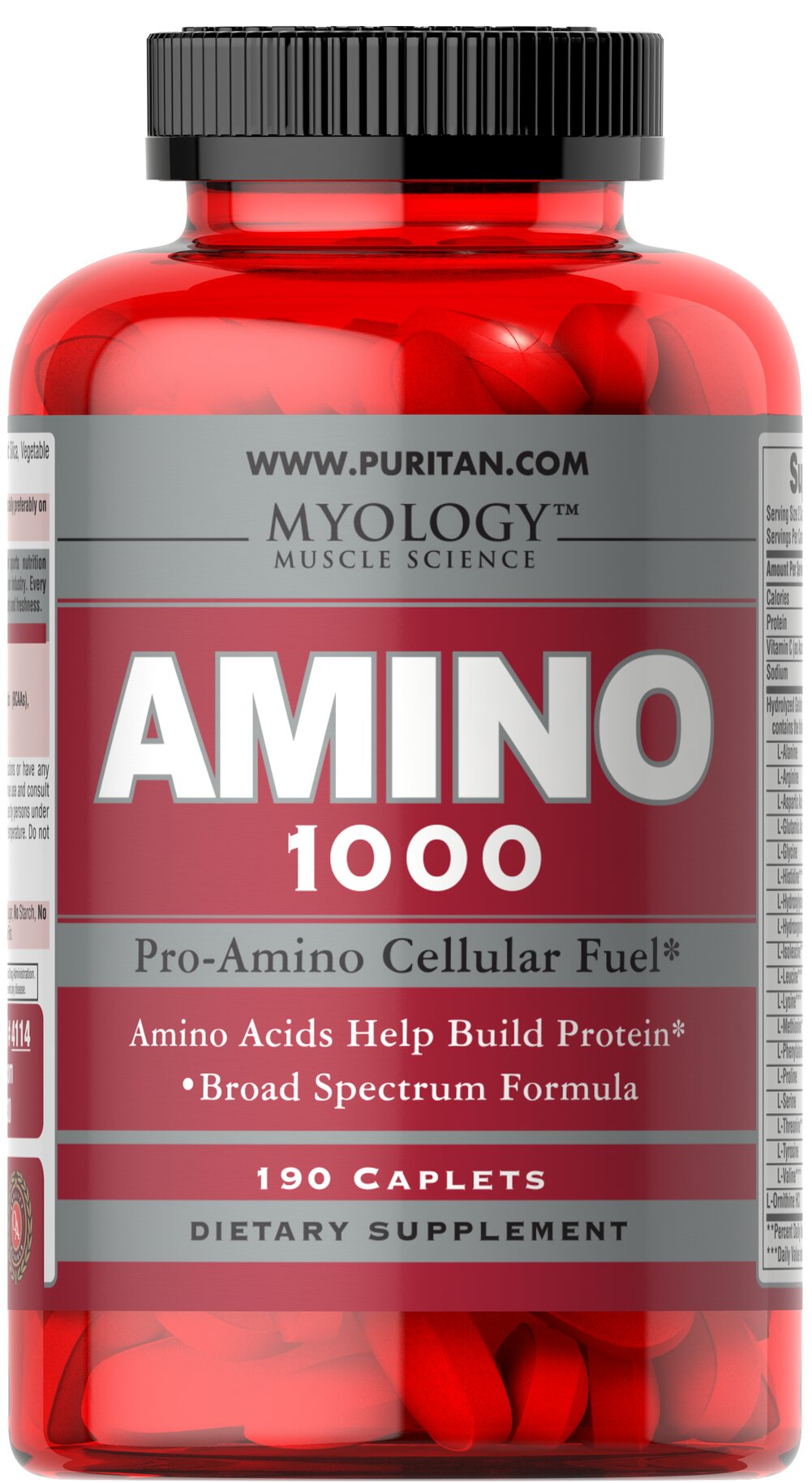 Amino 1000 <p>This Amino Acid formula contains all three Branch Chained Amino Acids (BCAAs), as well as other essential Aminos.  Amino Acids provide crucial building blocks for protein which are the main components of muscle tissue.**</p> 190 Caplets 1000 mg $17.99