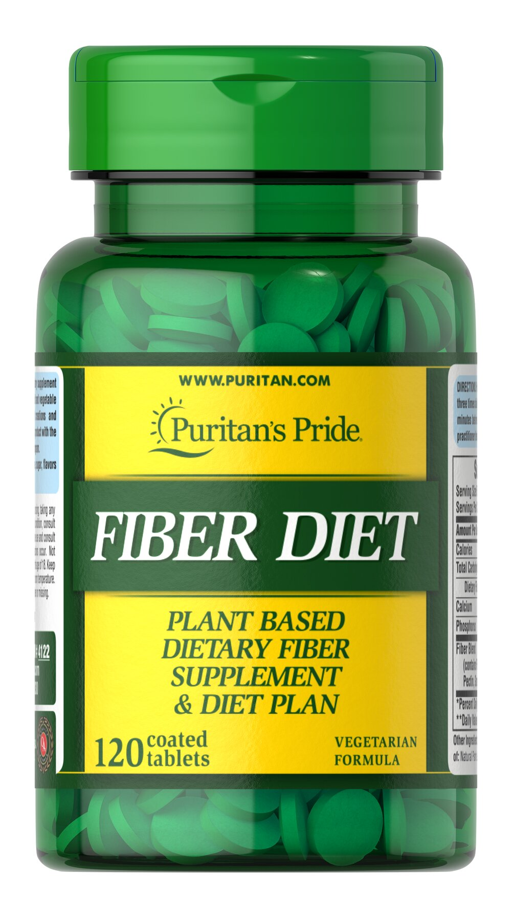 Fiber Diet <p>Fiber Diet tablets are a special combination of grain and fruit fiber.  To add healthful fiber to your diet take Fiber Diet tablets 15-30 minutes before you eat.  Each tablet is free of sugar, starch, preservatives and artificial colors.  There is no caffeine or sodium (salt).  This special fiber supplement comes with helpful tips on how you can make a reduced calorie diet a more enjoyable experience.</p> 120 Tablets  $9.99