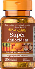 Super Antioxidant Formula** <p>The essential nutrients in our Super Antioxidant Formula are some of the best antioxidants available for fighting free radicals.** Free radicals can be produced from things like car exhaust, smoking, even your own body — plus they contribute to oxidative stress, which can lead to premature aging.** Vitamins A, C, and E and the mineral, Selenium, combat the harmful effects of these free radicals.**</p> 50 Softgels  $16.49