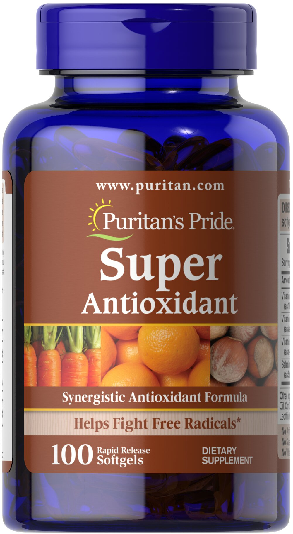 Super Antioxidant Formula** <p>The essential nutrients in our Super Antioxidant Formula are some of the best antioxidants available for fighting free radicals.** Free radicals can be produced from things like car exhaust, smoking, even your own body — plus they contribute to oxidative stress, which can lead to premature aging.** Vitamins A, C, and E and the mineral, Selenium, combat the harmful effects of these free radicals.**</p> 100 Softgels  $29.99