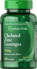 Zinc Chelate Lozenges Citrus Flavor <p>These high quality, delicious lozenges provide (23 mg) of elemental zinc from chelated zinc amino-acid complex. As the lozenge dissolves, the liquefied zinc coats the membranes of your mouth and throat.</p> 60 Chewables 23 mg $6.99