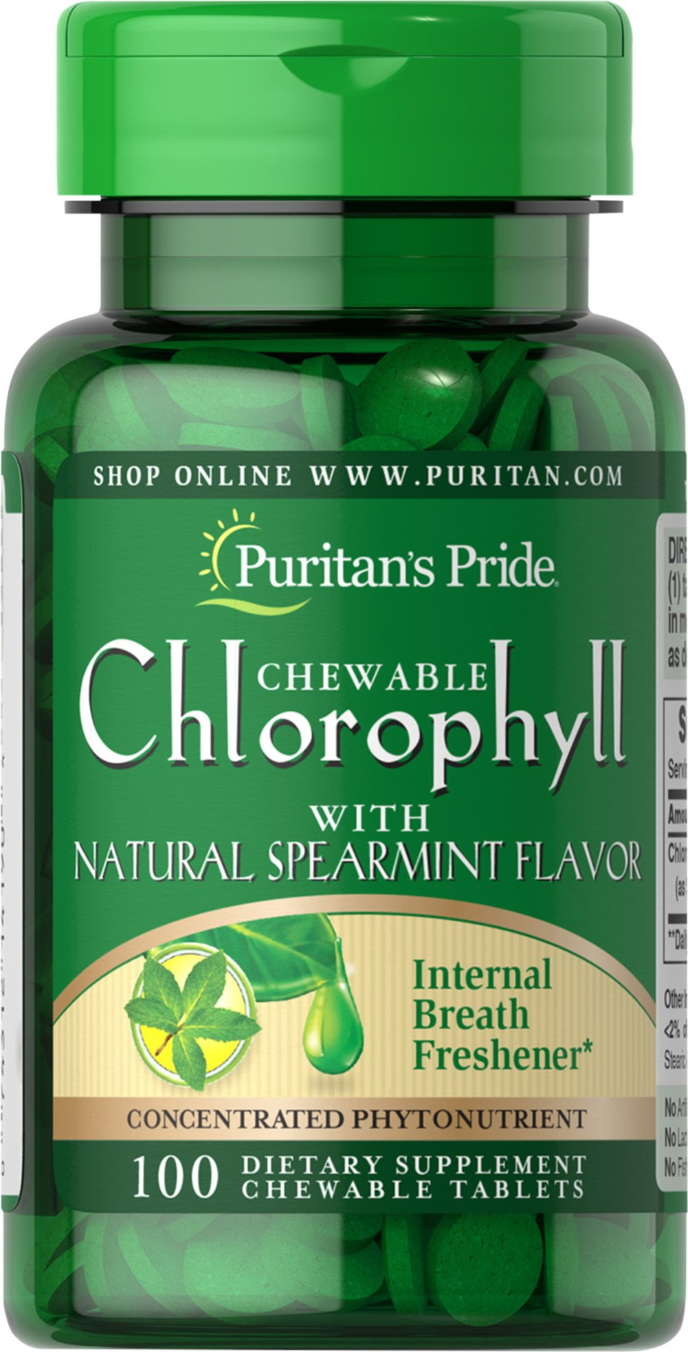 Chewable Chlorophyll with Natural Spearmint Flavor <p>These tablets contain natural chlorophyll and mint, two effective breath fresheners.  Use them as needed to prevent or stop odors caused by indigestion, dentures, smoking, alcohol, onions, garlic and other foods.</p> 100 Chewables 3 mg $4.49
