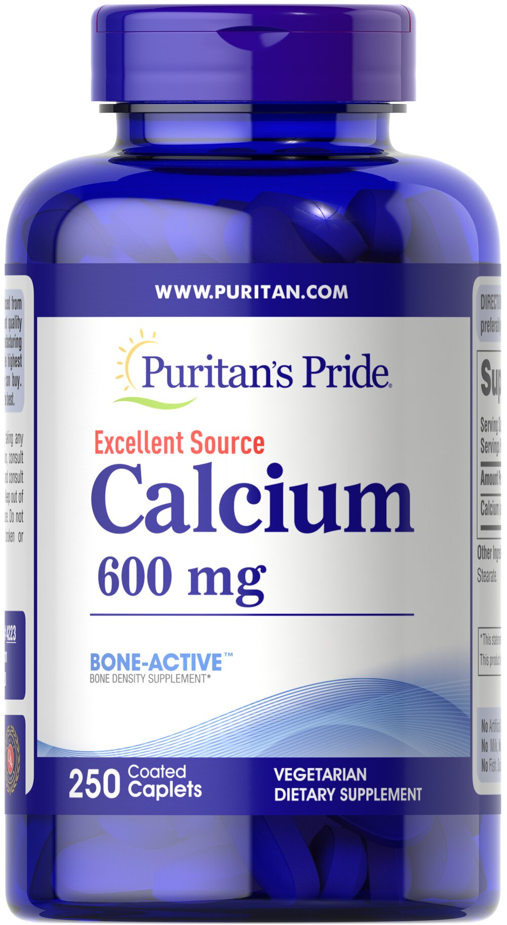 Calcium Carbonate 600 mg <p>Supports Bone Health**</p><p>Many factors contribute to the development of osteoporosis including sex, race, age, and hormonal status. It's important to remember that everyone loses bone mass with age. Regular exercise, a healthy diet and adequate Calcium intake helps maintain good bone health and may reduce the high risk of osteoporosis later in life.</p> 250 Coated Caplets 600 mg