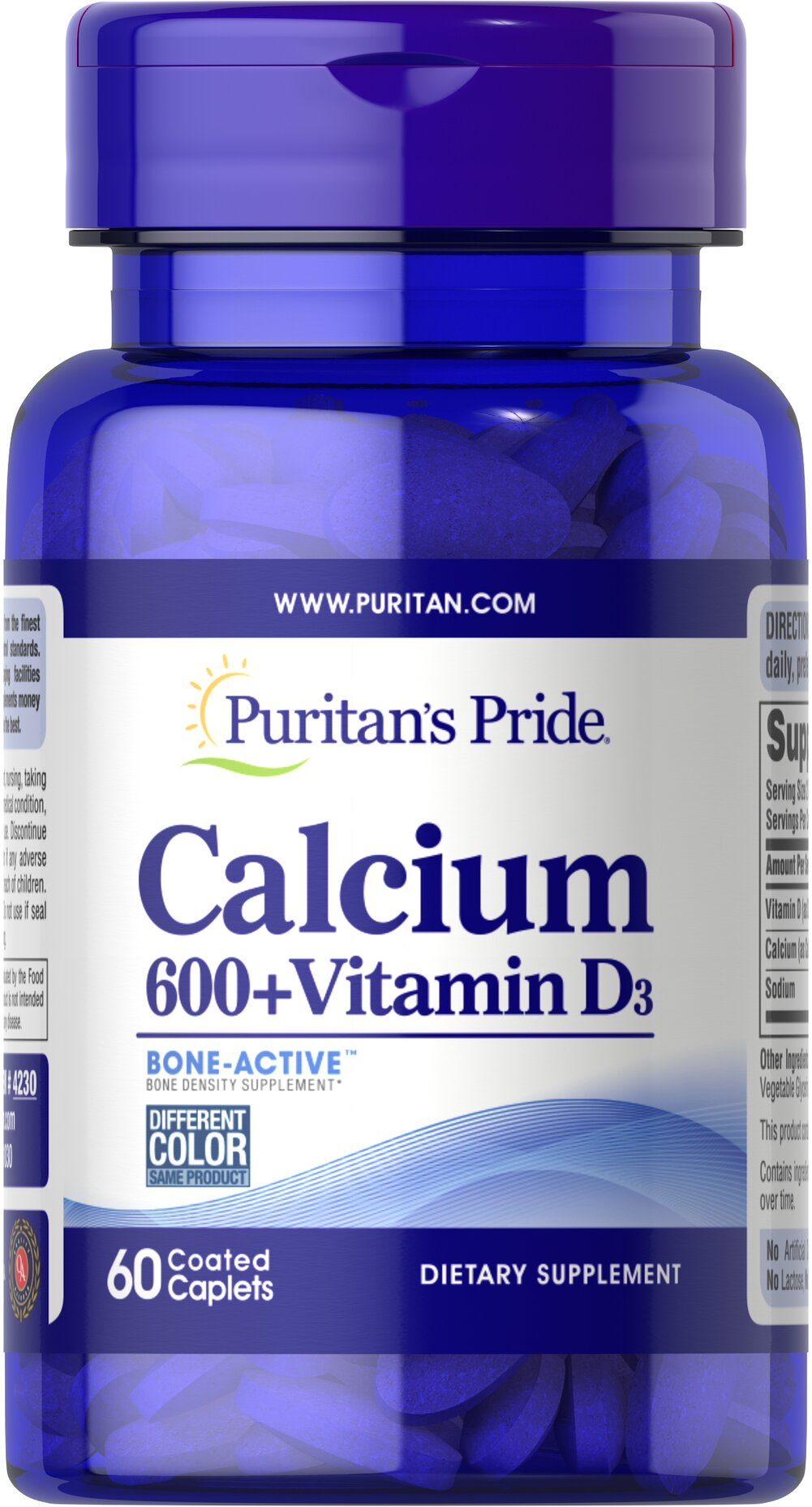 Calcium Carbonate 600 mg + Vitamin D 250 IU  60 Caplets 600 mg $6.99
