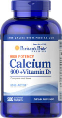 Calcium Carbonate 600 mg + Vitamin D 250 IU <p>Calcium is the primary mineral responsible for strong bones.** The body also uses Calcium for proper muscle contraction and nerve function.**  Just two tablets of our High Potency Calcium 600 + Vitamin D give you the protection of 120% of the Daily Value for Calcium. Each tablet contains 600 mg Calcium and 125 I.U. Vitamin D. Adults can take one or two tablets daily.</p> 500 Caplets 600 mg $33.99