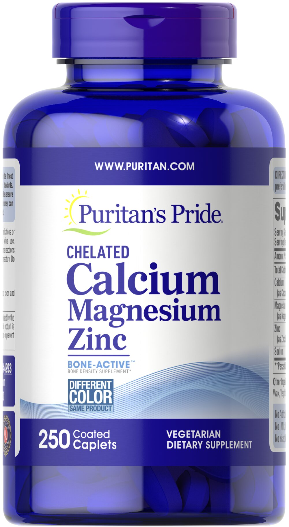 Chelated Calcium Magnesium Zinc <p>Looking for extra support for your bones?</p><p>Puritan's Pride offers a high quality Calcium, Magnesium, Zinc supplement that delivers 1000 mg Calcium, 400 mg Magnesium and 25 mg Zinc in one chelated form for optimal absorption.</p> 250 Caplets 1000 mg/400 mg/25 mg $16.99