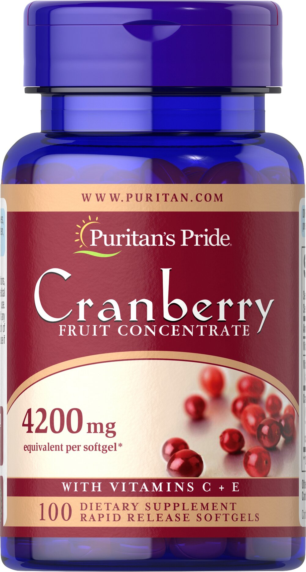 Cranberry Fruit Concentrate with C & E 4200 mg <p>This product has the benefits of concentrated cranberry without the unnecessary sugar and calories. Each of our concentrated (4200 mg) Cranberry softgels provide the equivalent of (8400 mg) of fresh cranberries plus (40 mg) of Vitamin C and 6 IU of Vitamin E.  Adults can take two softgels 3 times daily, after meals.</p> 100 Softgels 4200 mg $10.79