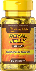 Royal Jelly 100 mg <p>Our Royal Jelly is a highly complex substance secreted from the glands of nursing bees and fed to the larvae destined to be queens. The queen eats Royal Jelly exclusively throughout her life, which can be considerable since she grows much larger and lives much longer than the average worker bee. Royal Jelly contains the natural factor, 10-Hydroxy-2-Decenoic Acid (10-HDA).</p> 50 Softgels 100 mg $6.99