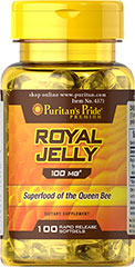 Royal Jelly 100 mg <p>Our Royal Jelly is a highly complex substance secreted from the glands of nursing bees and fed to the larvae destined to be queens. The queen eats Royal Jelly exclusively throughout her life, which can be considerable since she grows much larger and lives much longer than the average worker bee. Royal Jelly contains the natural factor, 10-Hydroxy-2-Decenoic Acid (10-HDA).</p> 100 Softgels 100 mg $8.99