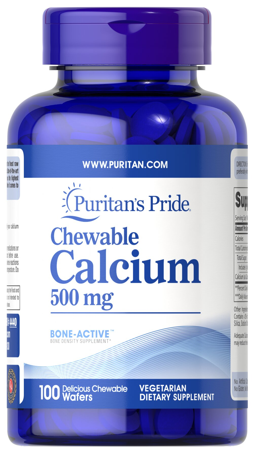 Chewable Calcium 500 mg <p>Supports Bone Health**</p><p>Many factors contribute to the development of osteoporosis including sex, race, age, and hormonal status. It's important to remember that everyone loses bone mass with age. Regular exercise, a healthy diet and adequate Calcium intake help maintain good bone health and may reduce the high risk of osteoporosis later in life.</p> 100 Chewables 500 mg $11.99