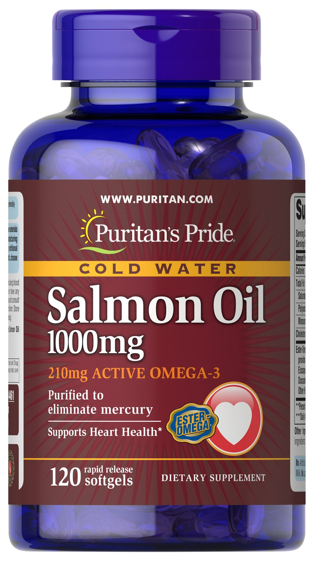 Omega-3 Salmon Oil 1000 mg (210 mg Active Omega-3) <p><strong>Purified to Eliminate Mercury</strong></p><p>Puritan's Pride Salmon Oil contains the finest Salmon Oil available. Take two softgels two times a day to gain the essential fatty acids your body needs for good health.** Salmon contains a high concentration of Omega-3 fatty acids that have been shown to help promote metabolic, circulatory and heart health.**</p> 120 Softgels 1000 mg $20.59