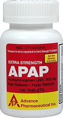 Non-Aspirin Pain Reliever 500 mg <p><strong>From the Manufacturer's Label: </strong></p><p>Temporarily relieves minor aches and pains, reduces fever.</p><p>Active ingredient: Acetaminophen 500 mg (pain reliever/fever reducer).</p><p>Compare to the active ingredient in Extra Strength TYLENOL® tablets.*</p><p>*This product is not affiliated with the owner of the registered trademark Extra Strength Tylenol.®.</p> 100