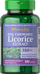 DGL Licorice Extract 380 mg Chewable <p>Licorice has a long and highly varied record of uses.  It was and remains one of the most important herbs in traditional Chinese medicine.  Each tablet provides Deglycyrrhizinated Licorice (380 mg) and Glycine (50 mg).</p> 100 Chewables 380 mg $8.99
