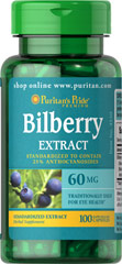 Bilberry Fruit Standardized Extract 60 mg <p>Bilberry is a close relative of Blueberries. Our high-quality Bilberry contains over 15 different naturally-occurring anthocyanidins, which are flavonoids that contain beneficial antioxidant properties.** This specialized formula helps support eye function by promoting healthy circulation.** Available in 60 mg dried extract capsules (standardized to contain 25% anthocyanidins).</p[> 100 Capsules 60 mg $19.99