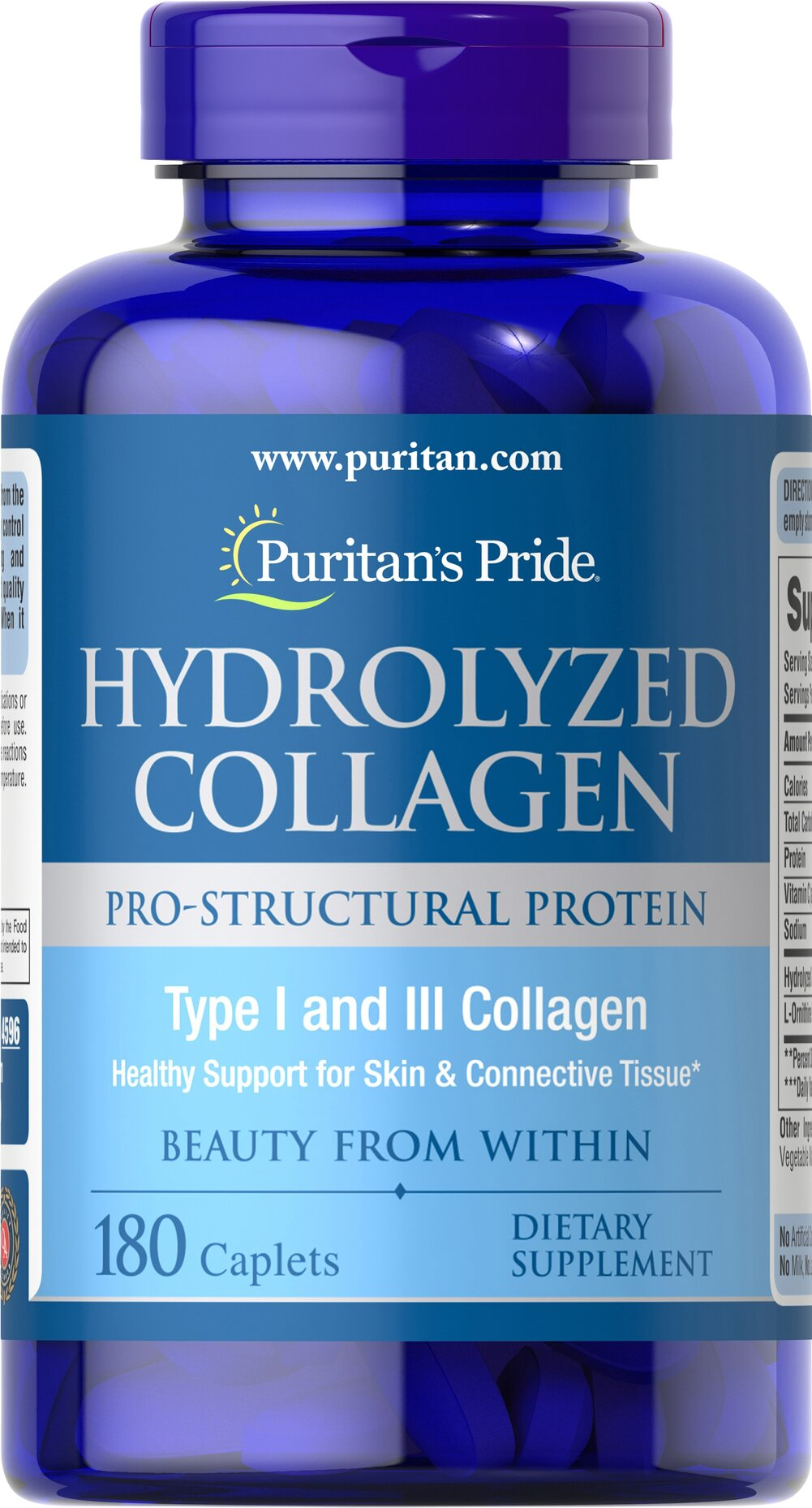Hydrolyzed Collagen 1000 mg <p>Restore Strength and Flexibility to Hair, Skin and Nails</p><p>This 100% pure collagen protein supplement provides the major building materials for growth and maintenance of nails, hair and skin. Collagen is also an essential component of muscles, tendons, cartilage and teeth.**</p> 180 Caplets 1000 mg $15.39