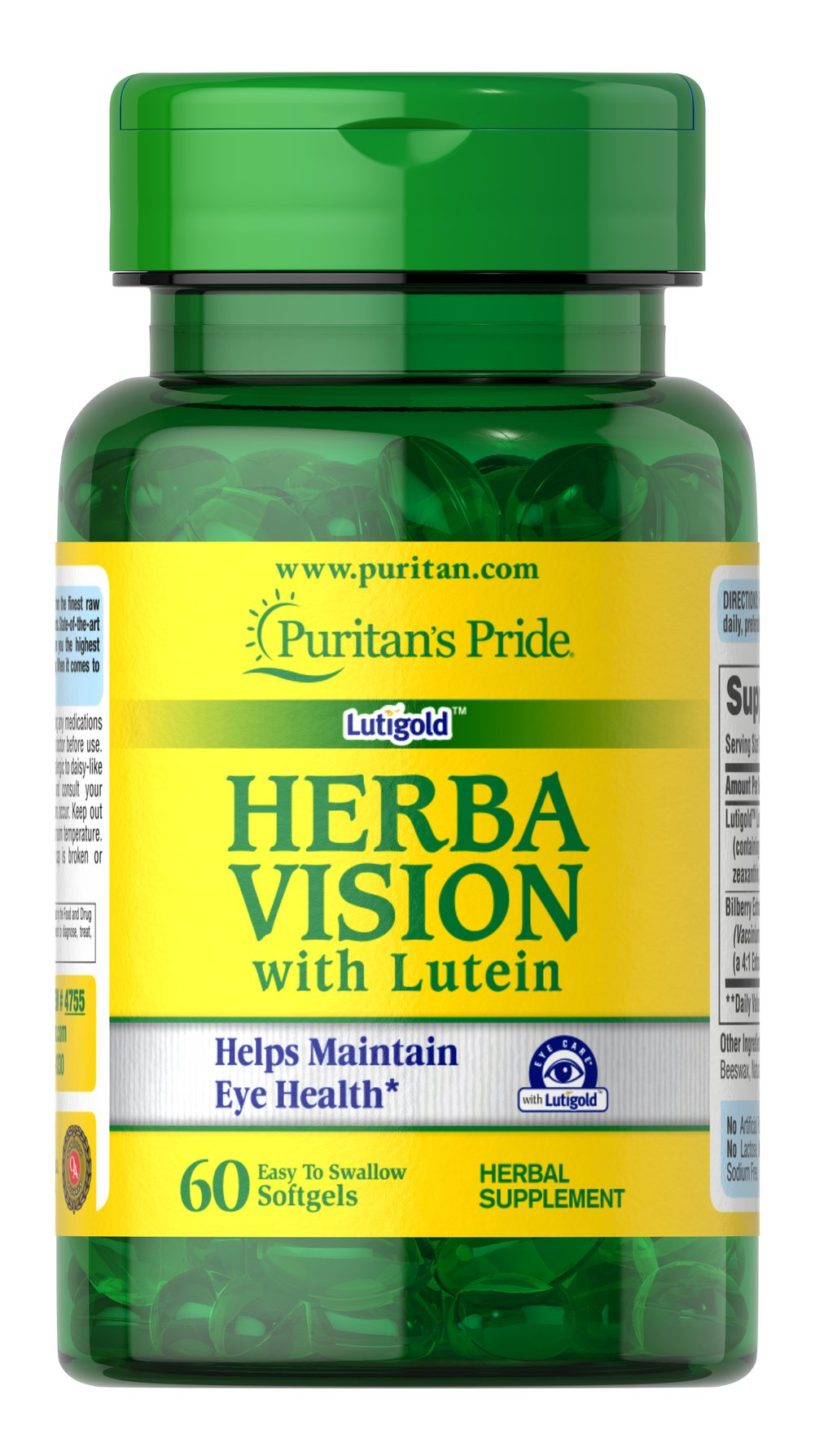 Herbavision with Lutein and Bilberry <p><strong>Nutritional support for your eyes**</strong></p><p>Contributes to clear, healthy vision**</p><p>Formulated with Lutigold™ Lutein, derived from pure, natural sources</p><p>Contains naturally occurring protective antioxidants and active carotenoids, such as Zeaxanthin, for synergistic support**</p><p>Comes in convenient, easy-to-swallow softgels</p> 60 Softgels  $6.89