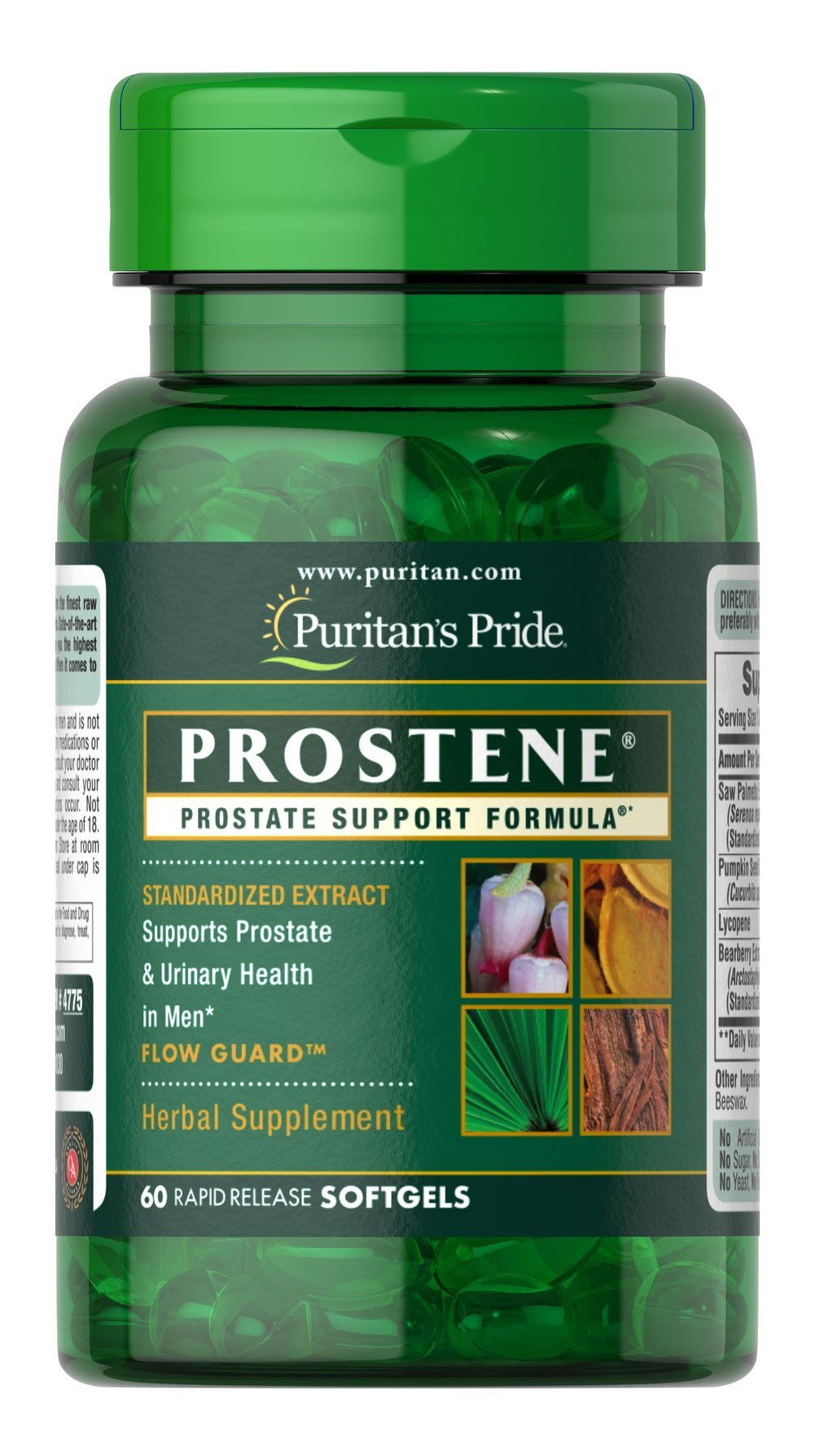 Prostene® Prostate Support Formula® <p>Two of the most popular natural ingredients (Saw Palmetto & Lycopene) are combined into one powerful prostate-supporting formula. Saw Palmetto Extract (80 mg) has been recommended for men for decades. Lycopene (3 mg) is a much publicized antioxidant from tomatoes. Prostene softgels also contain: Pumpkin Seed Oil (80 mg) and Uva Ursi (5 mg) for extra power.</p> 60 Softgels  $15.99