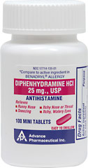 Antihistamine Diphenhydramine HCI 25 mg USP <p>Temporarily relieves these symptoms of hay fever or other respiratory allergies: runny nose, sneezing, itchy nose or throat, itchy, watery eyes</p><p>Compare to the active ingredient in Benadryl®*</p> <p>*Benadryl® is a registered trademark of Warner-Lambert.</p> 100 Tablets 25 mg $9.29