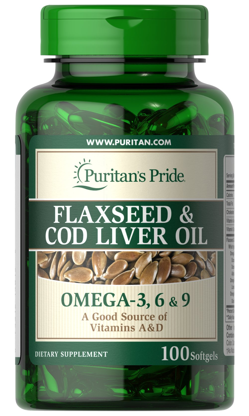 Flaxseed & Cod Liver Oil 1000 mg Omega 3, 6 & 9 <p>Both <strong>flaxseed and cod liver oil</strong> are rich in essential <em>fatty acids</em>, which may play an important role in the proper functioning of the cardiovascular system.  Each softgel provides (500 mg) of cold-pressed linseed oil, plus enough cod liver oil to supply (1250 I.U.) of Vitamin A and (125 I.U.) of Vitamin D.</p> 100 Softgels 1000 mg $14.39
