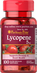 Lycopene 5 mg <p>Lycopene, a naturally occurring carotenoid, possesses antioxidant properties which help neutralize harmful free radicals in cells, and play a role in maintaining good health.** Lycopene promotes prostate and heart health, and supports the immune system.** Adults can take one softgel daily with a meal.</p> 100 Softgels 5 mg $9.29