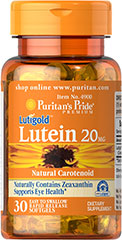 Lutein 20 mg <p>Like other parts of the body, the eyes can be affected by the stresses of time.  Lutein helps to improve vision in low contrast situations, which is essential for night driving.**  Lutein Lutigold™ plays a role in the maintenance of eye health and is the principle Carotenoid found in the central area of the retina called the macula.** Carotenoids are fat-soluble antioxidants found in fruits, vegetables, marigolds and other plants.**</p> 30 Softgels 20 mg $8.9
