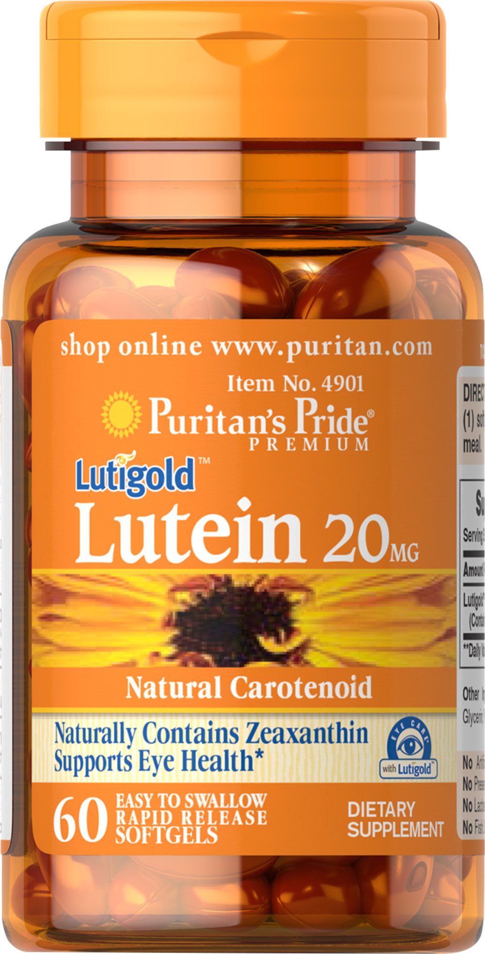 Lutein 20 mg <p>Like other parts of the body, the eyes can be affected by the stresses of time.   Lutein helps to improve vision in low contrast situations, which is essential for night driving.** Lutein Lutigold™ plays a role in the maintenance of eye health and is the principle Carotenoid found in the central area of the retina called the macula.** Carotenoids are fat-soluble antioxidants found in fruits, vegetables, marigolds and other plants.**</p> 60 Softgels 2