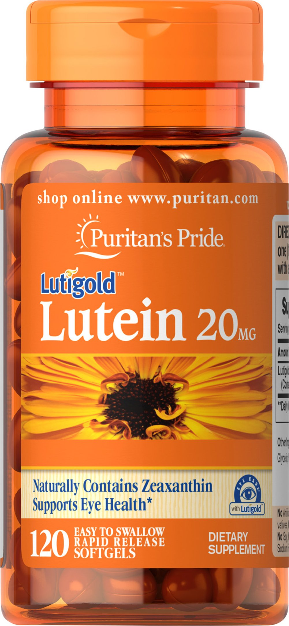 Lutein 20 mg <p>Like other parts of the body, the eyes can be affected by the stresses of time.  Lutein helps to improve vision in low contrast situations, which is essential for night driving.**  Lutein Lutigold™ plays a role in the maintenance of eye health and is the principle Carotenoid found in the central area of the retina called the macula.** Carotenoids are fat-soluble antioxidants found in fruits, vegetables, marigolds and other plants.**</p> 120 Softgels