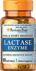 Super Lactase Enzyme 125 mg <p>This product supports digestive health with lactase enzyme (Aspergillus oryzae).** Lactase is a digestive enzyme that helps break down the sugar in milk and dairy products.** Supplementing with Super Lactase Enzyme can make milk more readily digestible to your system.** </p> 60 Softgels 125 mg $6.99