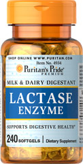 Super Lactase Enzyme 125 mg <p>This product supports digestive health with lactase enzyme (Aspergillus oryzae).** Lactase is a digestive enzyme that helps break down the sugar in milk and dairy products.** Supplementing with Super Lactase Enzyme can make milk more readily digestible to your system.** </p> 240 Softgels 125 mg $35.99