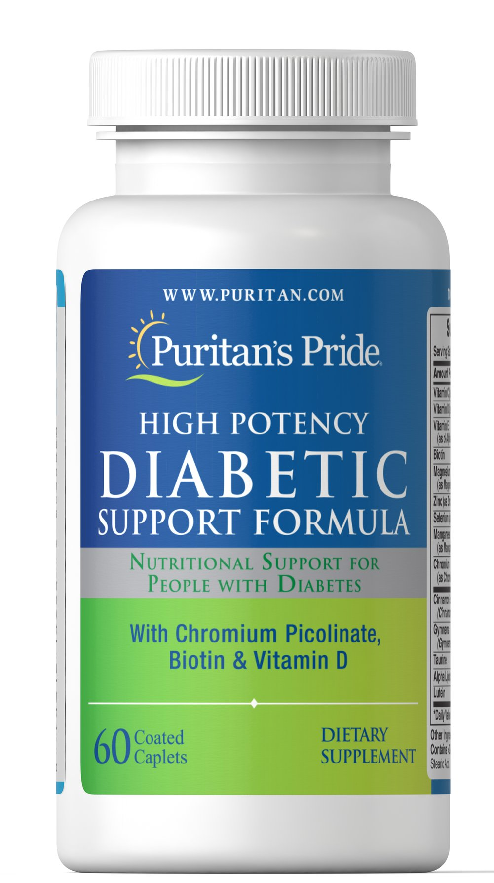 Diabetic Support Formula <p>These high-potency tablets contain a synergistic blend of Chromium Picolinate, Lipoic Acid, Ginkgo Biloba, Coenzyme Q-10, and other nutrients. Diabetics/Hypoglycemics: Use only under a doctor's supervision because this product contains Chromium which may enhance insulin sensitivity and may affect your blood glucose levels.</p> 60 Caplets  $29.99