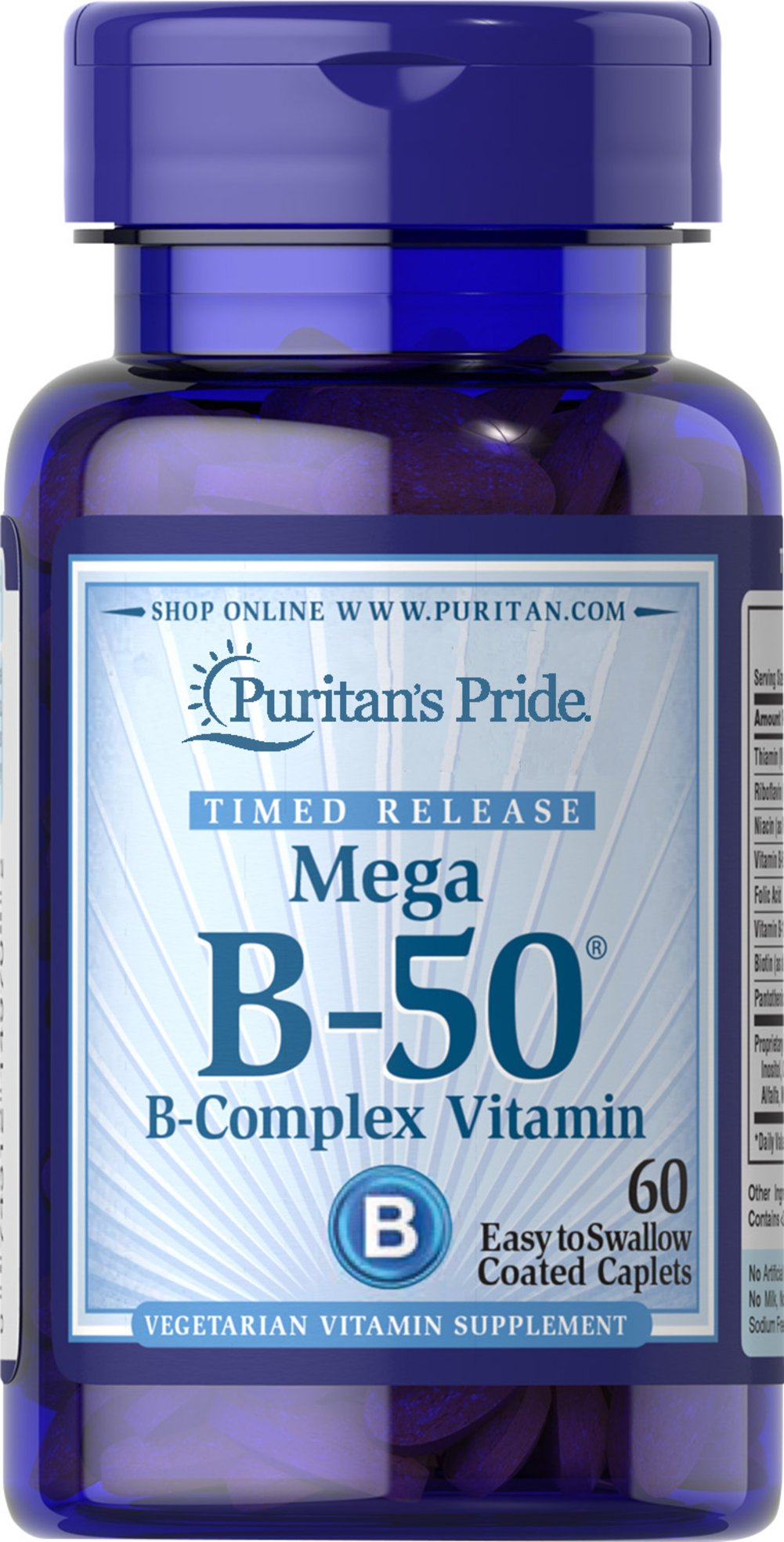 Vitamin B-50® Complex Timed Release <p>When taken together in a Vitamin B-50® complex formula, the B-Vitamins help to maintain the health of the nerves, skin, eyes and hair.** Each tablet is time released to provide a steady flow of B-Complex to your body.</p> <p>Each serving delivers Thiamin, Riboflavin, Niacin, B-6, B-12, Biotin, Folic Acid, Pantothenic Acid and a Proprietary Blend.</p> 60 Tablets 50 mg $11.99