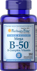 Vitamin B-50® Complex Timed Release <p>When taken together in a Vitamin B-50® complex formula, the B-Vitamins help to maintain the health of the nerves, skin, eyes and hair.** Each tablet is time released to provide a steady flow of B-Complex to your body.</p> <p>Each serving delivers Thiamin, Riboflavin, Niacin, B-6, B-12, Biotin, Folic Acid, Pantothenic Acid and a Proprietary Blend.</p> 180 Tablets 50 mg $33.99