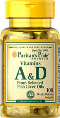 Vitamins A & D 10,000/400 IU  100 Softgels 10000 IU/400 IU $7.99