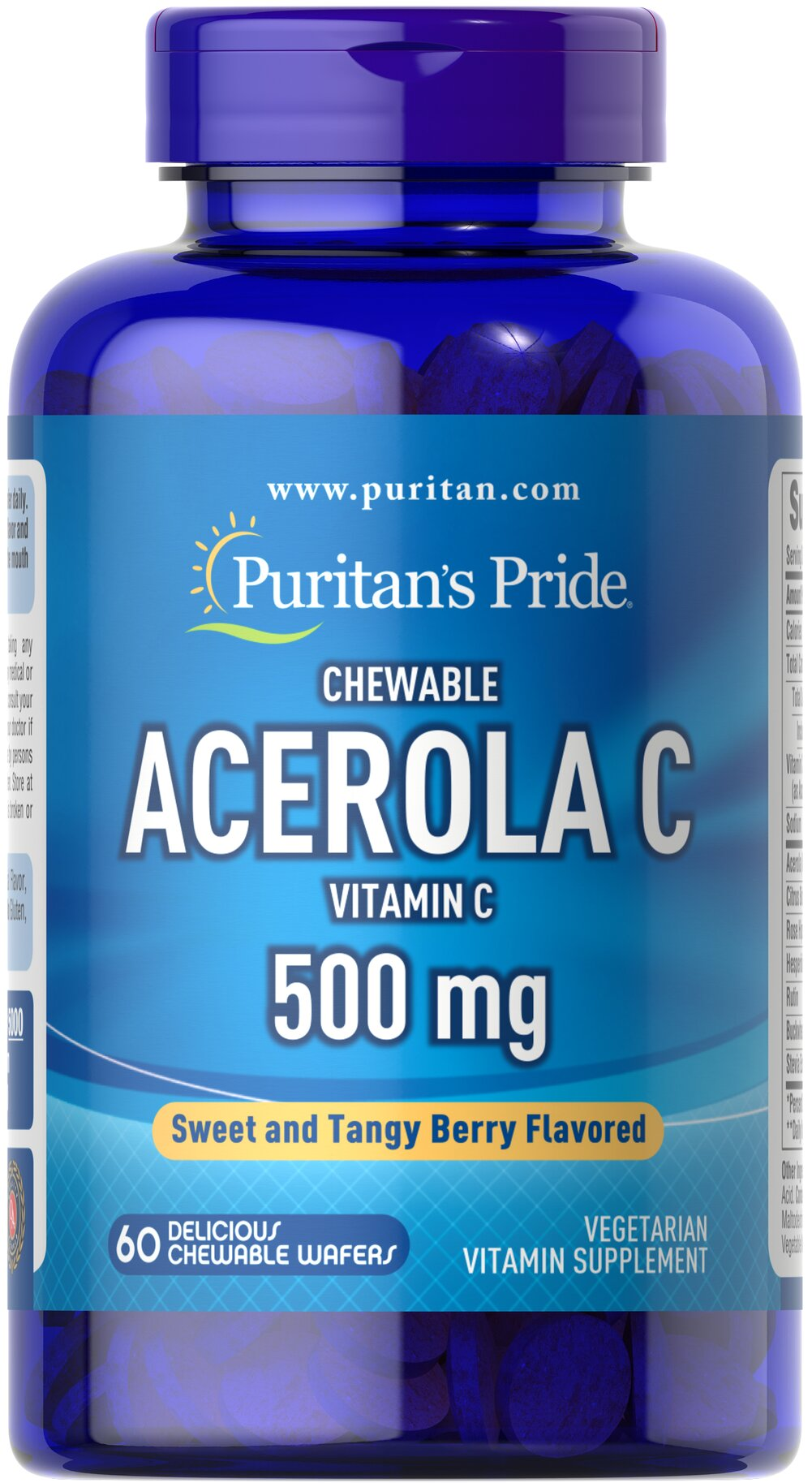 Chewable Acerola C 500 mg <p>Vitamin C is essential to many functions in the body and is one of the leading vitamins for immune support.**</p><p>Offers superior antioxidant support.**</p><p>Supports healthy immune function and promotes well-being.**</p><p>Forms the molecular basis for healthy skin, hair and nails.**</p> 60 Chewables 500 mg