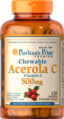 Chewable Acerola C 500 mg <p>Vitamin C is essential to many functions in the body and is one of the leading vitamins for immune support.**</p><p>Offers superior antioxidant support.**</p><p>Supports healthy immune function and promotes well-being.**</p><p>Forms the molecular basis for healthy skin, hair and nails.**</p> 120 Chewables 500 mg $16.99