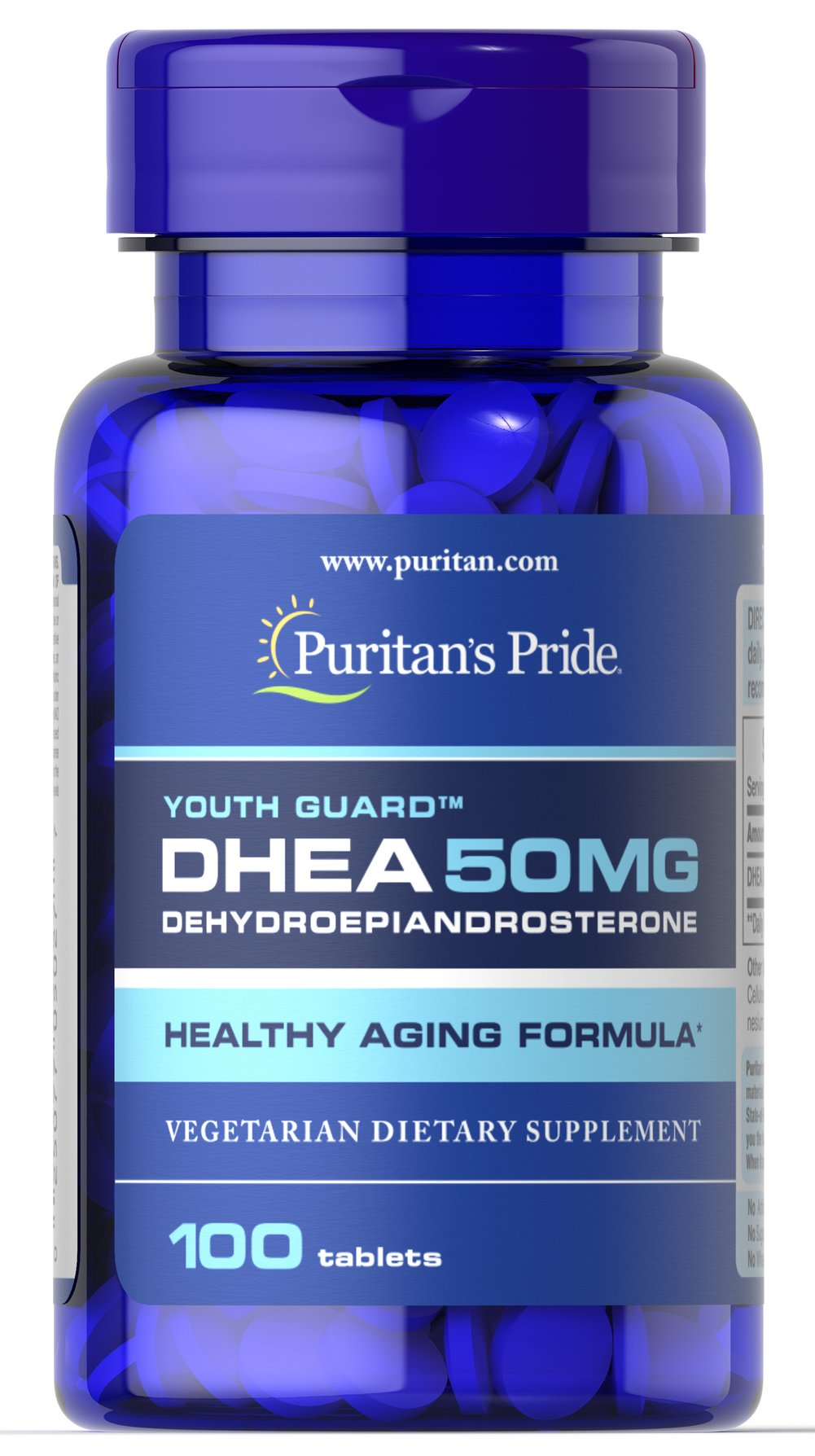 DHEA 50 mg <p>Levels of DHEA can decline with age as part of the natural aging process. DHEA is a hormone that is produced in our bodies by the adrenal glands and the levels of this hormone may begin to decline after the age of 30. Supplementing may help replenish what our bodies lose over time.<br /><br />A study published in the highly respected Journal of the American Medical Association found that supplementation with 50mg of DHEA per day in mature adults helped promote sug