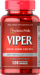Viper <p>Viper is a unique blend of natural herbal products.  Includes 200 mg of Oat Straw (Avena Sativa) per serving.  Also included are 20 mg of the Brazilian herb, Muira Puama and 100 mg Yohimbe Extract per serving. Includes 120 rapid release capsules.<br /><br /></p> 120 Rapid Release Capsules  $21.59